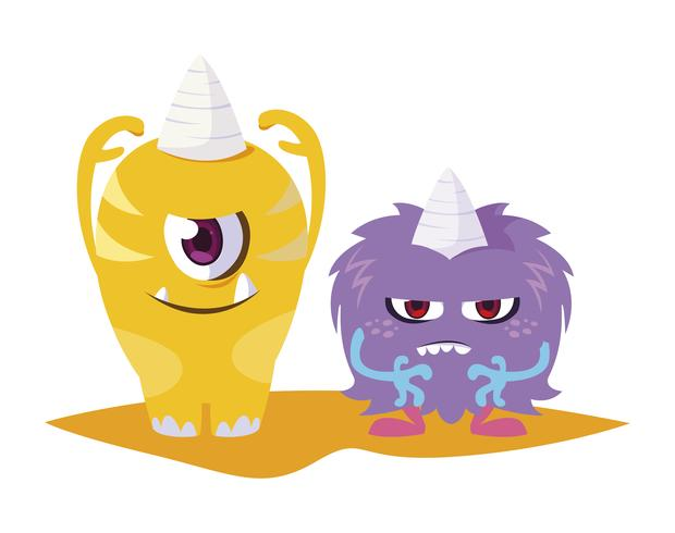 funny monsters couple comic characters colorful vector