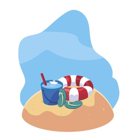 Playa de arena de verano con flotador e iconos.