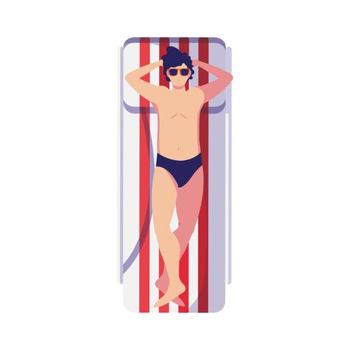 young man with swimsuit in tanning mat vector