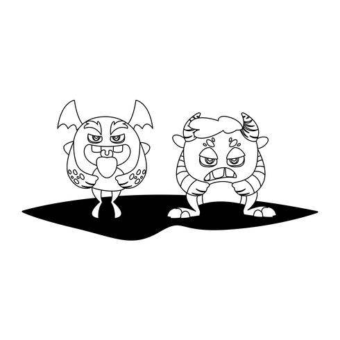 funny monsters couple comic characters monochrome vector