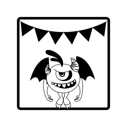 quadratischer Rahmen mit Monsterfliegen und Partygirlanden vektor