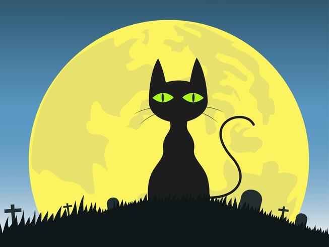 Fondo de Halloween con la silueta del gato negro en el cementerio vector