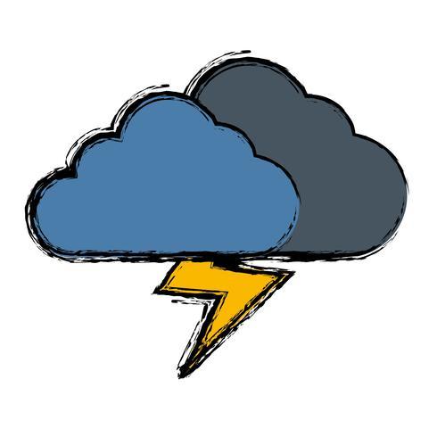 moln och åska ikon vektor