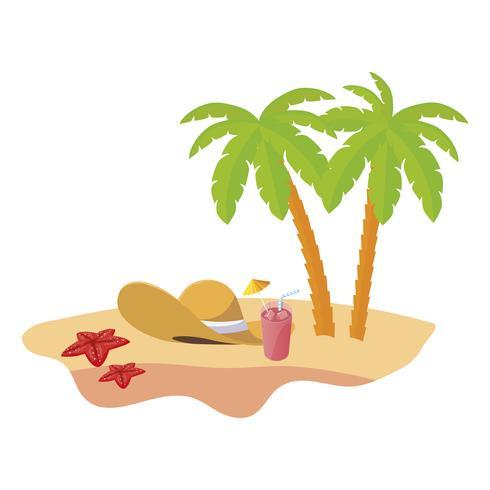 Escena de playa de verano con palmeras y sombrero de paja