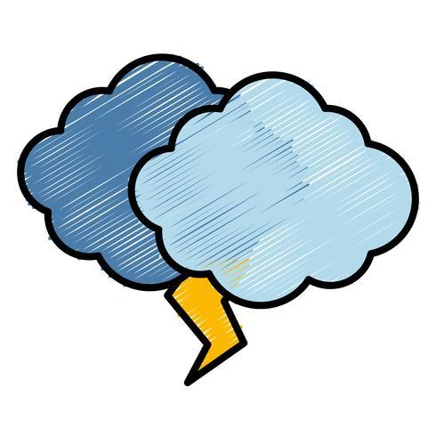 icono de nube y trueno vector