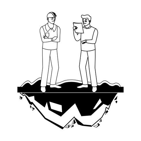 mannelijke bouwers constructeurs werknemers op het gazon vector