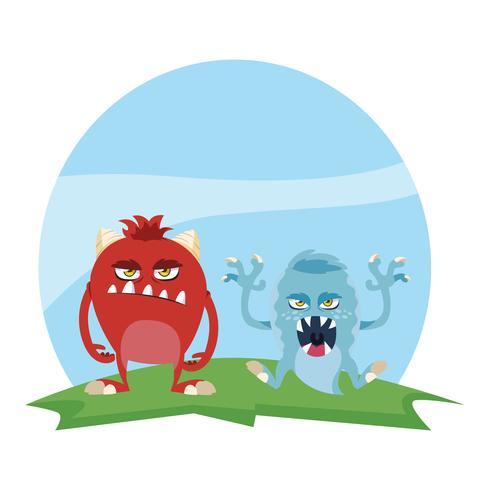 casal engraçado monstros no campo personagens coloridos vetor