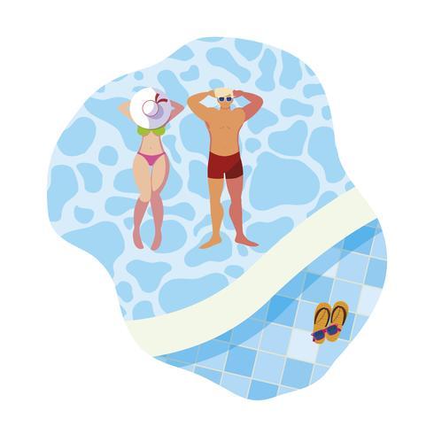 jong koppel met zwembroek drijvend in zwembad vector