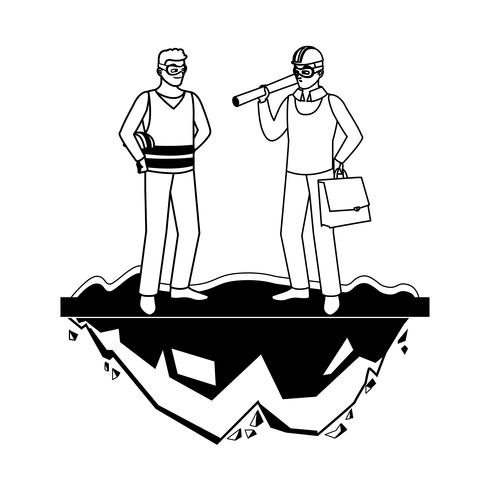 lavoratore costruttore costruttore maschio con capo architetto
