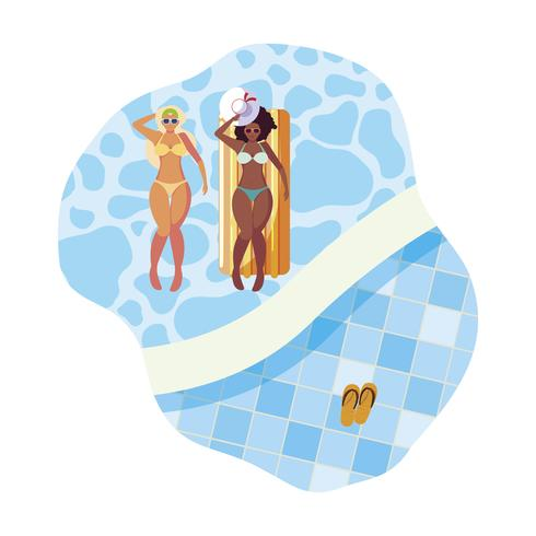 beautiful interracial girls with float mattress in water vector