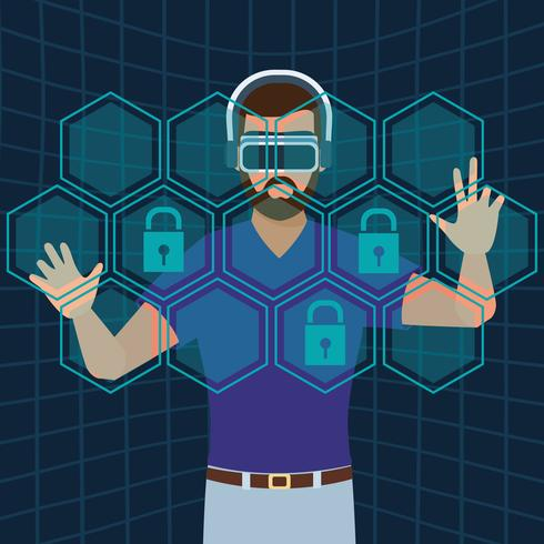 Technologie de réalité virtuelle vecteur
