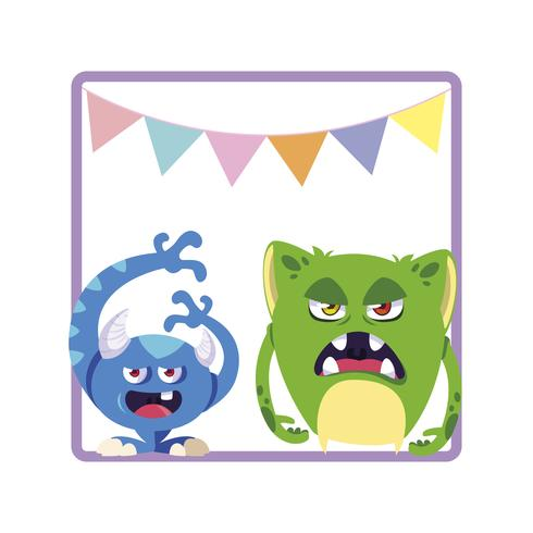 square frame with funny monsters and garlands hanging vector