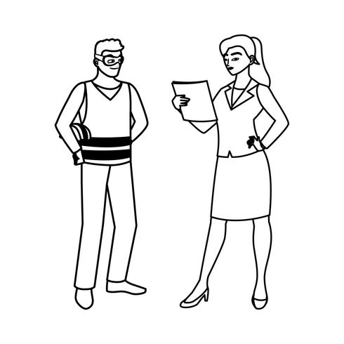 male builder constructor with woman engineer vector