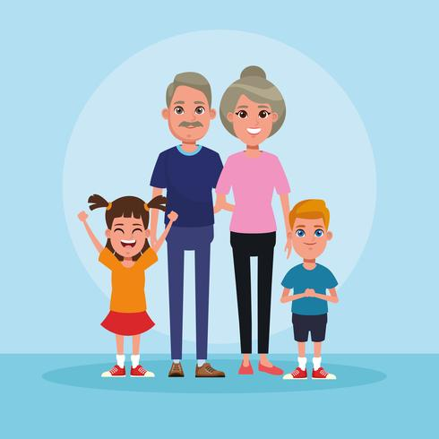 Family with kids cartoon vector