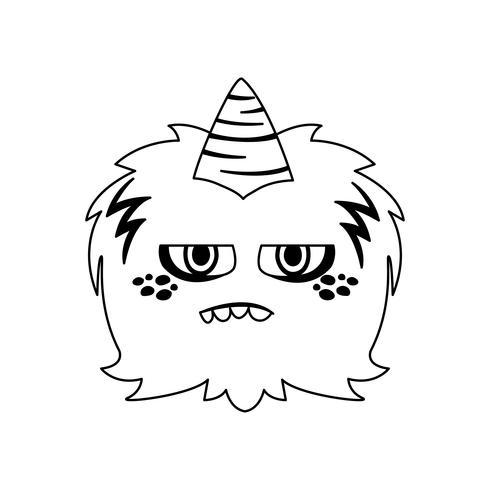 grappig monster met hoorn komisch karakter