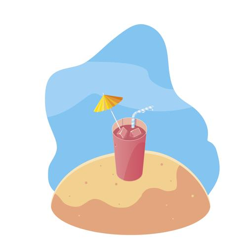 summer sand beach with cocktail and icons scene