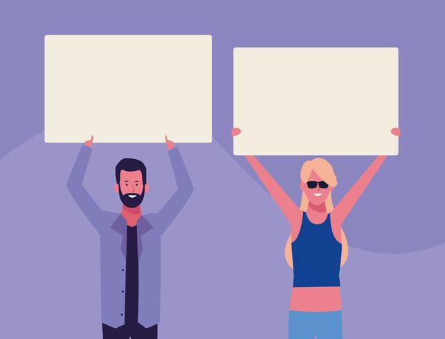 personas con carteles vector