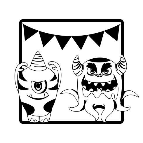 Marco monocromo con monstruos y guirnaldas colgando.