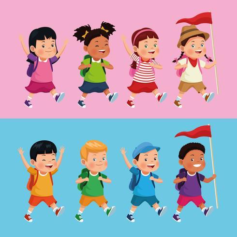 niños en la excursión escolar vector