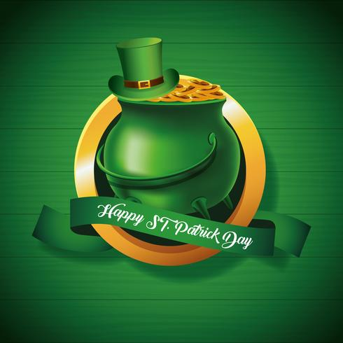 Happy Saint Patrick's Badge With Pot of Gold on Green Background vector