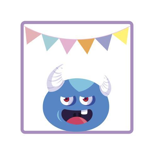 Marco cuadrado con guirnaldas de fiesta de monstruos y cuernos. vector