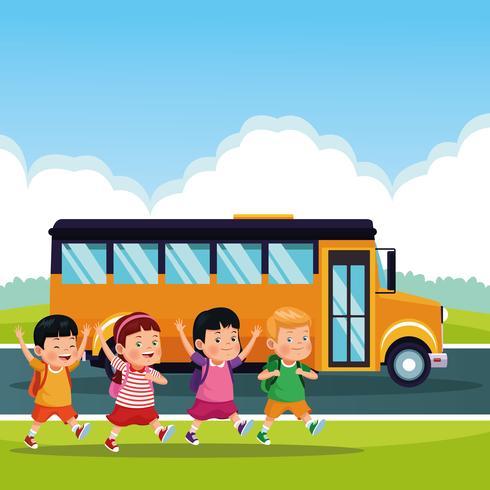 Volver a la escuela dibujos animados para niños vector