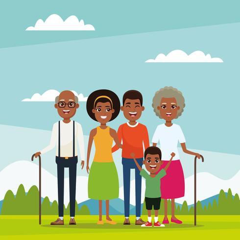 Family with kids cartoon vector