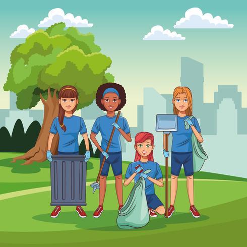 Voluntarios de limpieza del parque