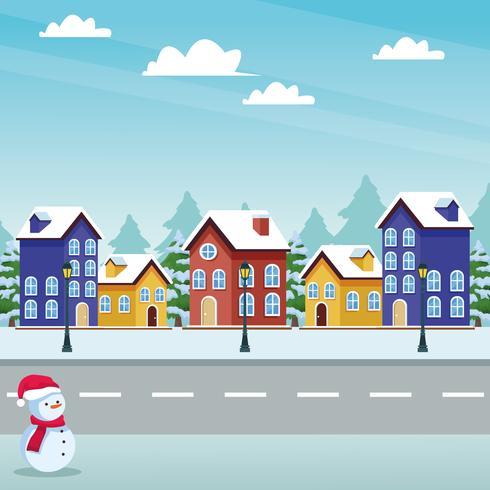 happy christmas in winter vector