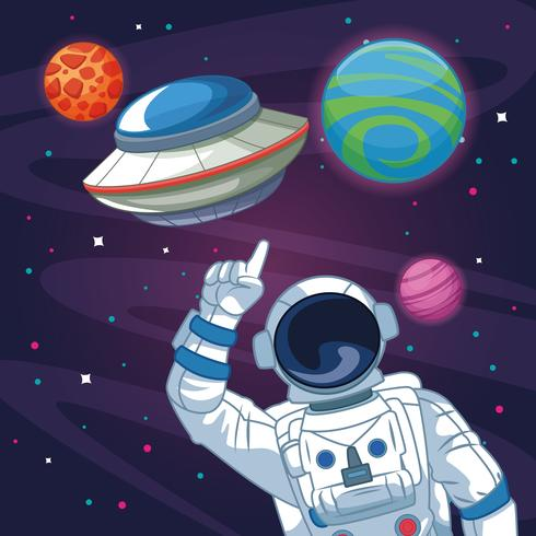 Astronaute dans le dessin animé de galaxie vecteur