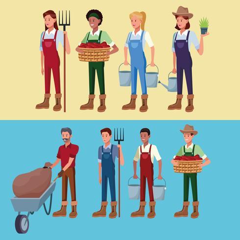 Agricultores que trabajan en caricaturas de la granja. vector