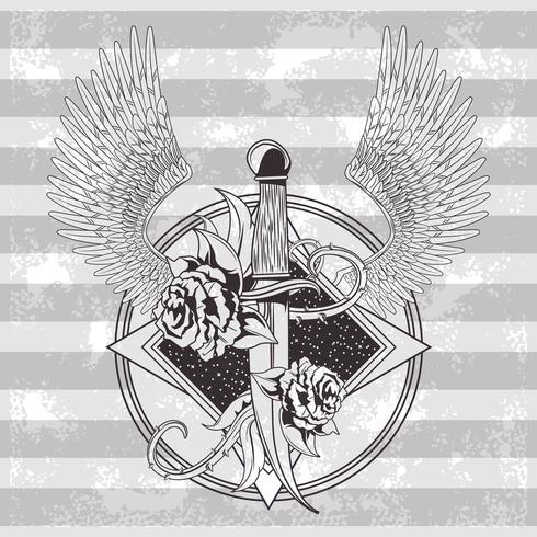 Tatuaje de dibujo de la vieja escuela vector