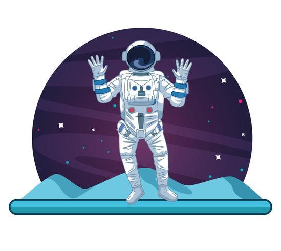 Astronaut in the galaxy cartoon vector