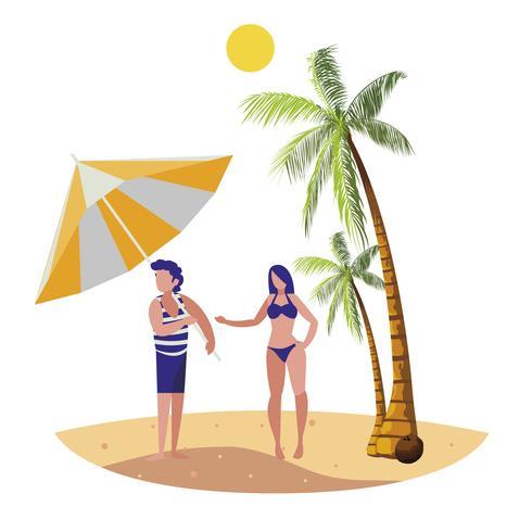 kleiner Junge mit Frau am Strand Sommerszene