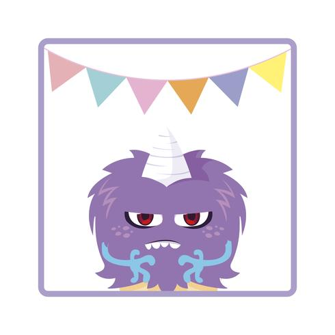 square frame with monster and horn party garlands
