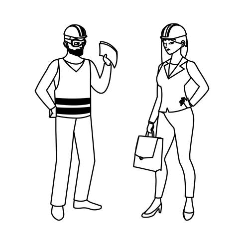 male builder constructor with woman engineer