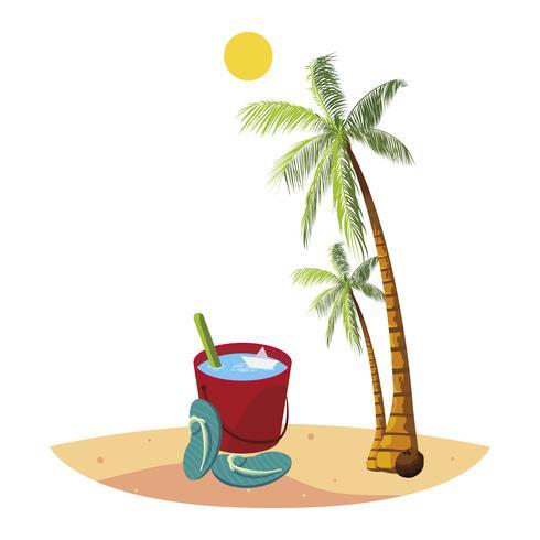 Playa de verano con palmeras y escena de cubo de agua. vector
