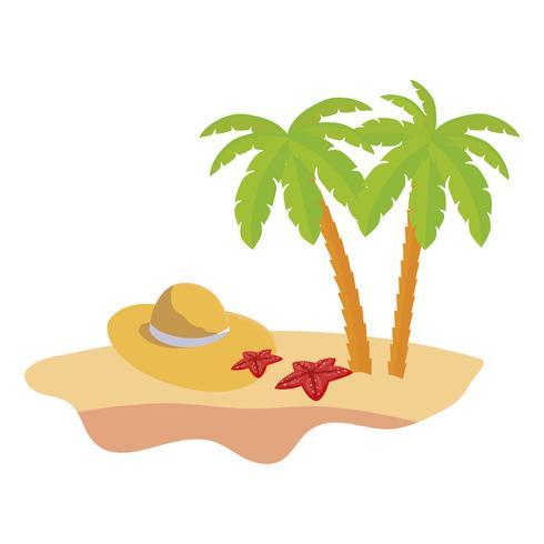 scène de plage d'été avec palmiers et chapeau de paille