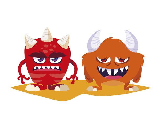 divertidos monstruos pareja personajes de comic coloridos