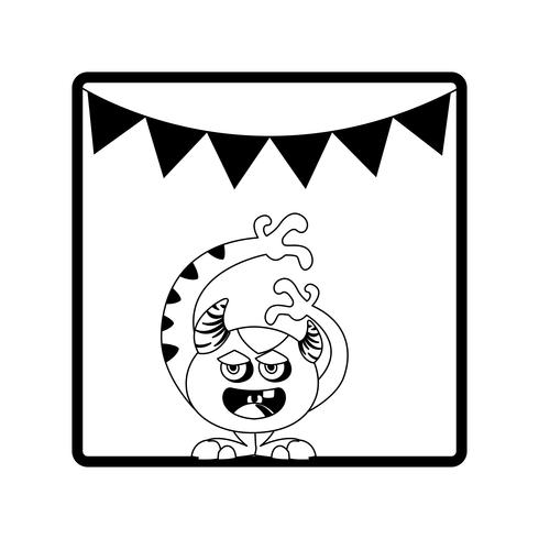 square frame with monster and horns party garlands vector