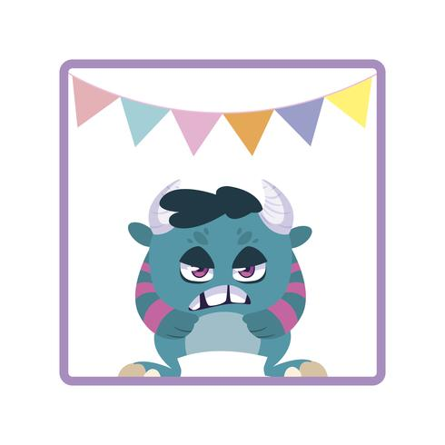 square frame with monster and horns party garlands
