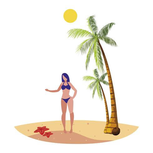 giovane donna sulla scena estiva spiaggia
