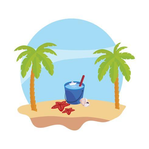 Playa de verano con palmeras y escena de cubo de agua.