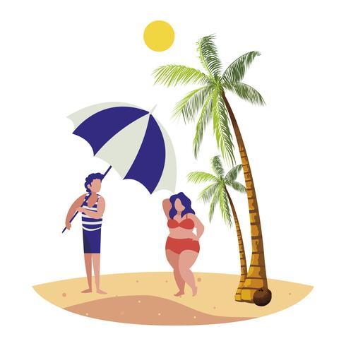 jeune garçon avec femme sur la scène d'été de la plage vecteur