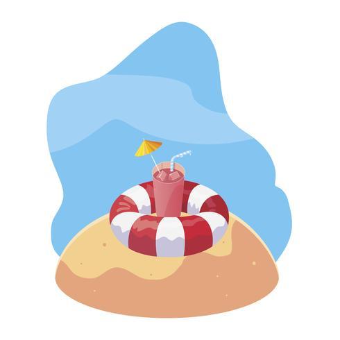 spiaggia di sabbia estiva con galleggiante e icone