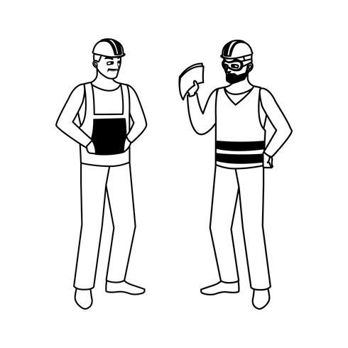 construtores masculinos construtores personagens de trabalhadores