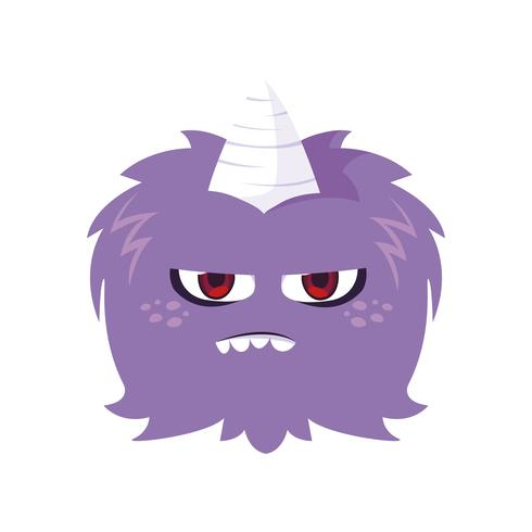 funny monster with horn comic character
