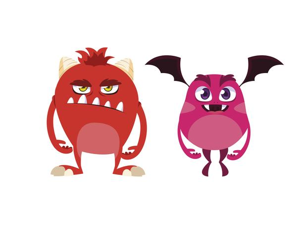 roliga monster par komiska karaktärer färgglada