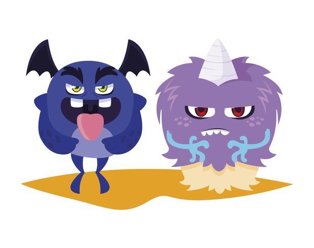 mostri divertenti coppia personaggi comici colorati