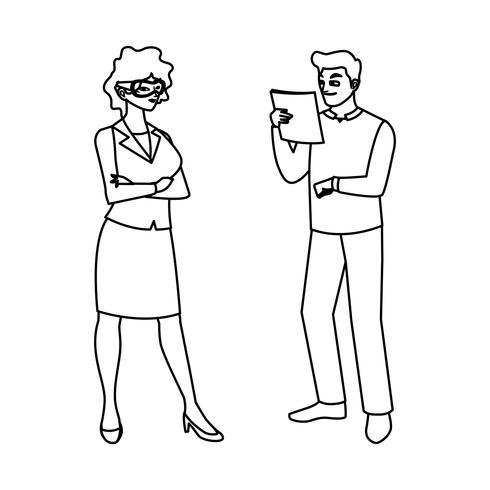 constructor masculino constructor con mujer ingeniero vector